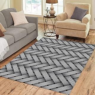 Pinbeam Area Rug Silver Carbon Woven Fiber Pattern Weave Kevlar Herringbone Home Decor Floor Rug 5' x 7' Carpet