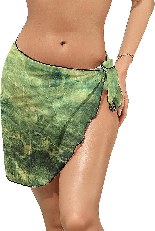 JINJUELS Women Beach Wrap Skirts Cracks Lines Paint Green Personalized Bikini Swimwear Beach Cover Up
