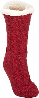 Simple Knit - Calcetines antideslizantes para mujer, talla única, forro de felpa, para interiores