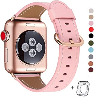 Compatible iWatch Band 38mm 40mm, Top Grain Leather Band Replacement Strap iWatch Series 5/ 4/ 3/ 2/ 1,Sport, Edition (pink+ rose gold buckle, 38mm40mm)