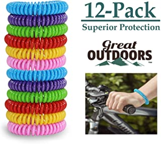 GREAT OUTDOORS Natural Mosquito Repellent Bracelets, Insect Bug Protection up to 300 Hours Bands, Deet-Free Wristband, Pest Control Bands for Kids & Adults, 12 Pack.