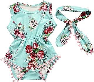 38ff0521ee4 IEason Newborn Toddler Kid Baby Girl Print Romper Jumpsuit Sunsuit+Headband  Clothes Set