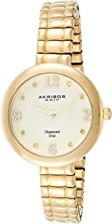 Akribos XXIV Women's Gold Classic Diamond Watch - White Mother of Pearl Dial - Stainless Steel Expandable Bracelet - AK765