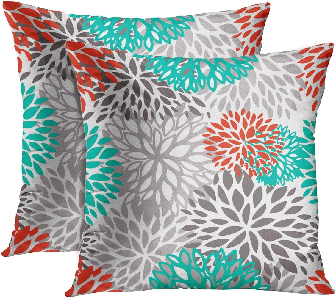 Emvency Set of 2 Throw Pillow New sales Award-winning store Cover Fl Blue Orange Gray Aqua and