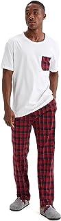 DeFacto V3692AZ Slim Fit Ekose Desenli Pijama Takımı Erkek