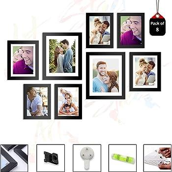 Art Street - Set of 8 Individual Black Wall Photo Frames Wall Hanging (Mix Size) (4 Units 5X7, 2 Units 6X8 inch,2 Units 8X10 inch)|| Free Hanging Accessories Included ||