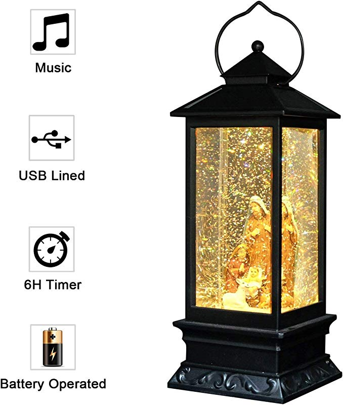 Eldnacele Musical Battery Operated Singing Lighted Nativity Water Glittering Swirling Snow Globe Lantern With Music Christmas Home Decoration And Gift Holy Family
