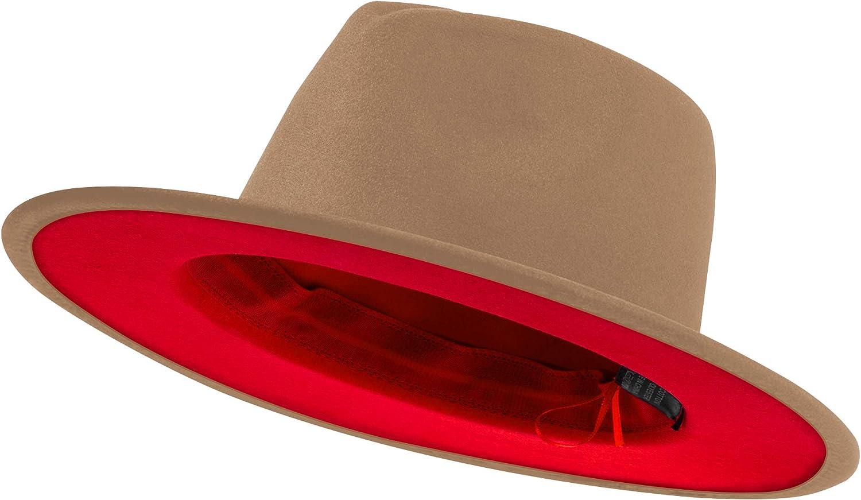 jingsha Womens & Mens Two Tone Wide Brim Fedora Hats Felt Panama Cap Casual Hats with Belt Buckle