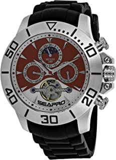 Seapro Men's Stainless Steel Automatic Silicone Strap, Black, 22 Casual Watch (Model: SP5123)