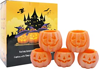 Eldnacele Jack O Lantern Flameless Candles with Timer, Pumpkin Lights Set of 5, Battery Operated LED Lights