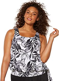 Swimsuits For All Women's Plus Size Side Tie Blouson Tankini Top