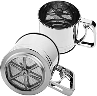 Stephenie Hand Squeeze Flour Sifter - Stainless Steel - 3 Cup Capacity