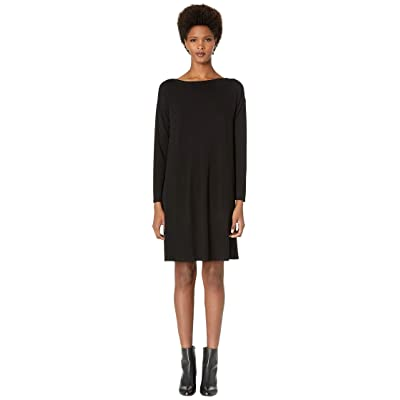 Eileen Fisher Bateau Neck K/L Dress (Black) Women