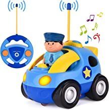 Liberty Imports My First RC Cartoon Car Vehicle 2-Channel Remote Control Toy | Music, Lights & Sound for Baby, Toddlers, Kids (Police Car)