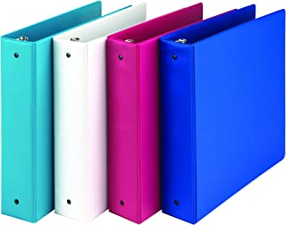 Samsill Fashion Color 3 Ring Storage Binders, 2 Inch Round Ring, Assorted Colors May Vary (Blue Coconut, White, Dragon Fruit, Blueberry), Bulk Binders - 4 Pack