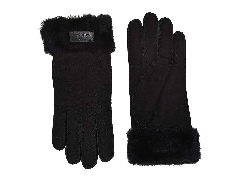 UGG Turn Cuff Water Resistant Sheepskin Gloves (Black) Extreme Cold Weather Gloves