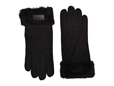 UGG Turn Cuff Water Resistant Sheepskin Gloves (Black) Extreme Cold Weather Gloves
