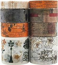 Vintage Floral Orange Washi Tapes Set, ZMLSED 8 Rolls Antique Brown Japanese Masking Writable Decorative Tapes for Bullet ...