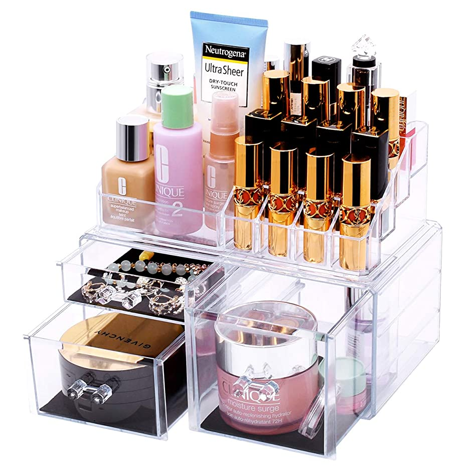 浜辺櫛ふけるFORSONT メイクボックス 二層 化粧品収納ボックス 口紅ボックス 大容量収納 透明 アクセサリ収納ボックス
