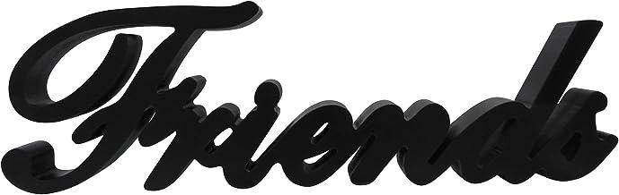 CVHOMEDECO. Matt Black Wooden Words Sign Free Standing Friends Tabletop/Shelf/Home Wall/Office Decoration Art, 14-1/2 x 4-...