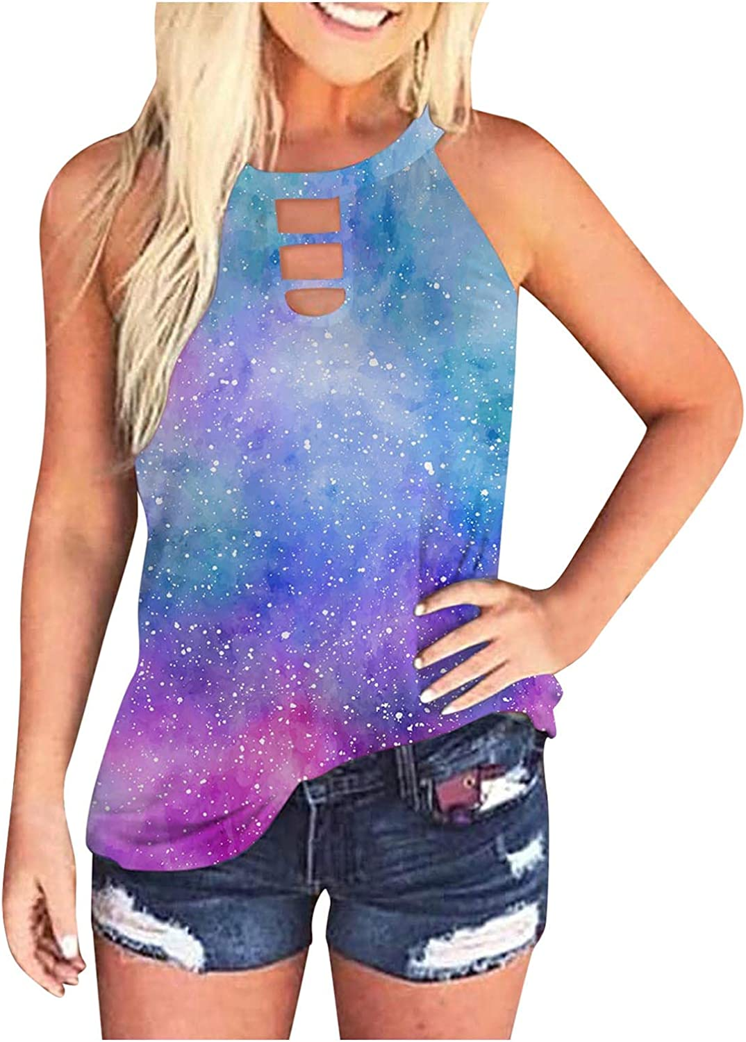 AODONG Tank Tops for Women Casual, Womens Sleeveless Summer Loose Fit Tie-Dye Tops Tunics Blouses Tee Shirts Vest
