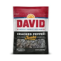DAVID Roasted and Salted Cracked Pepper Jumbo Sunflower Seeds, Keto Friendly, 5.25 oz
