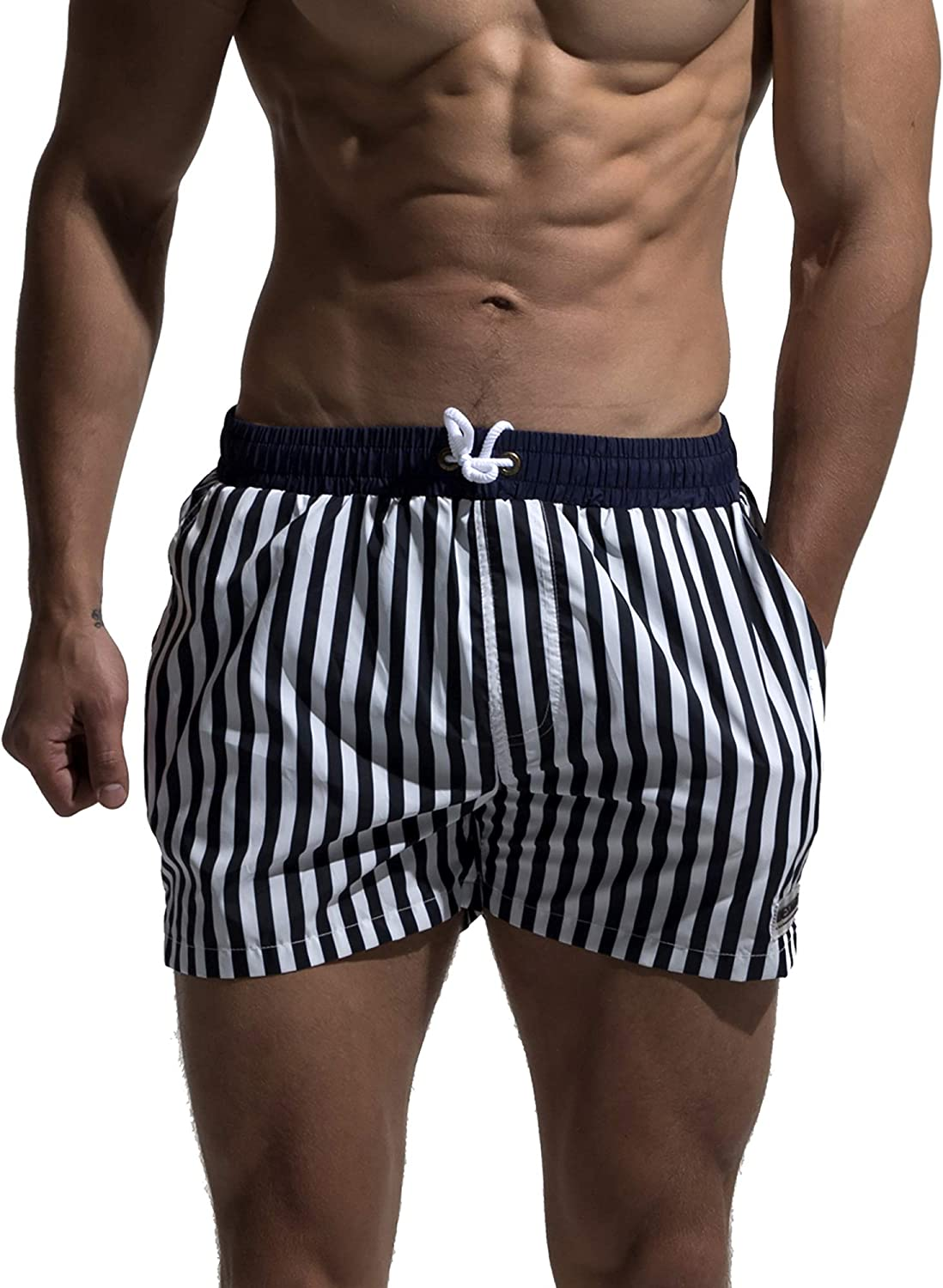 DESMIIT Men's Classical Board Shorts Navy Blue Striped Shorts Trunks Also for Gym