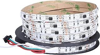 Visdoll WS2811 Pixels RGB Led Light Strip, 16.4ft 300Leds WS2811 SMD 5050 Addressable Programmable Dream Color Flexible Strip Lights DC 12V Non-waterproof (White PCB)