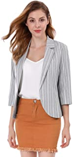 Allegra K Women's Striped 3/4 Sleeves Open Front Notched Lapel Blazer