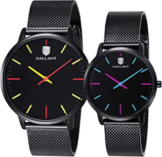 Quartz Wrist Watch Couple Watches Men's and Women's Couple Pair Watches Ultra Thin Casual Classic Mesh Steel Bracelet Watch for His and Hers Lovers Gifts Set
