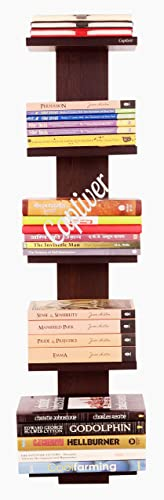 Captiver Donald Wooden Wall Mounted Book Shelf Wenge for Bedroom Study Room Kids Living Rotating Home Library Door Rack with Steel Long Narrow Open Engineering Wardrobe Office