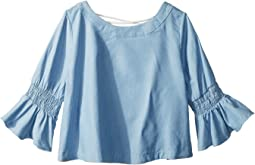 Chambray 3/4 Sleeve Top (Big Kids)
