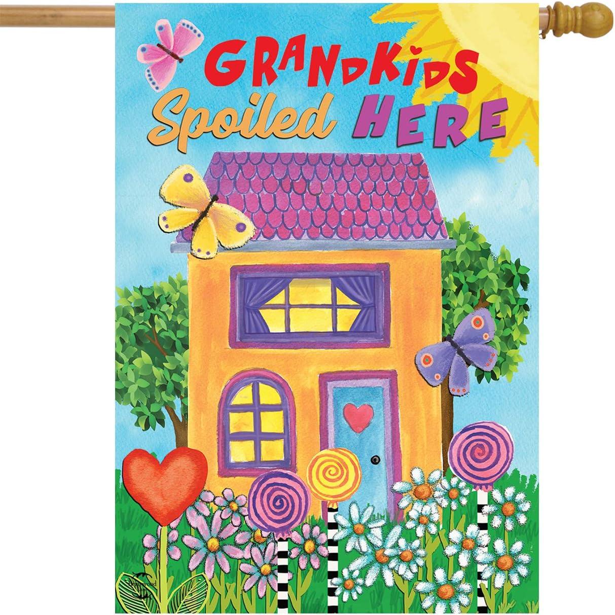 Briarwood Lane Grandkids Spoiled Here Floral House Flag Everyday Sunshine 28