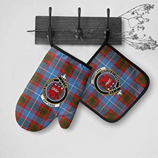 Jun2K Pentland Tartan Clan Badge Oven Mitts and Pot Holders Sets/Insulation Gloves and Pad Set