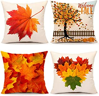 4TH Emotion Fall Maple Leaf Tree Throw Pillow Cover Farmhouse Autumn Orange Cushion Case for Sofa Couch 18 x 18 Inches Cotton Linen Set of 4