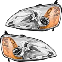 Headlights Headlamps Driver and Passenger Replacements for 01-03 Honda Civic Coupe 33151-S5P-A01 33101-S5P-A01