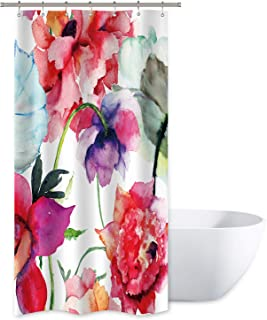 Watercolor Floral Shower Curtain Colorful Flower Peony Red White Decor Fabric Panel Bathroom Set 36x72 Inch with 12 Pack Plastic Shower Hooks