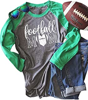Football Mom Raglan Shirt for Women Letters Print Long Sleeve Splicing T-Shirt Tops Tees