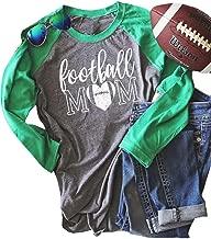 MNLYBABY Football Mom Raglan Shirt for Women Letters Print Long Sleeve Splicing T-Shirt Tops Tees