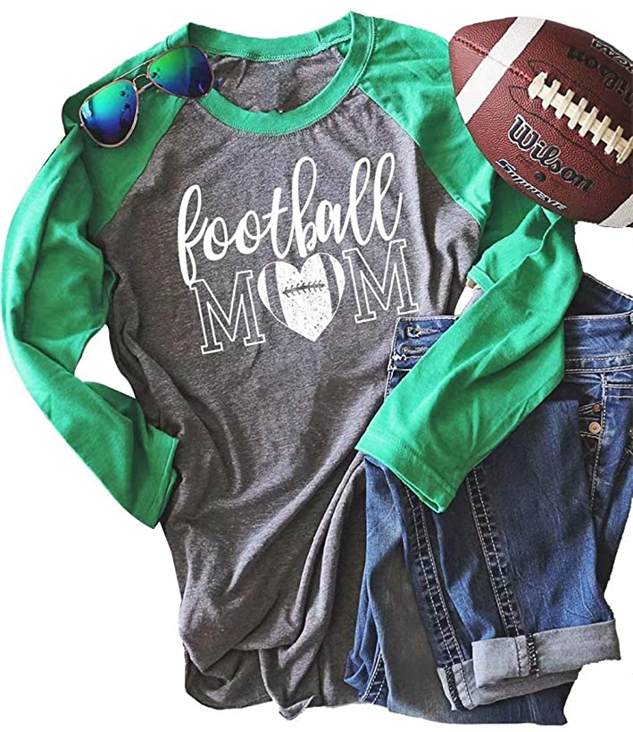 MNLYBABY Football Mom Raglan Shirt for Women Letters Print Long Sleeve Splicing T-Shirt Tops Tees