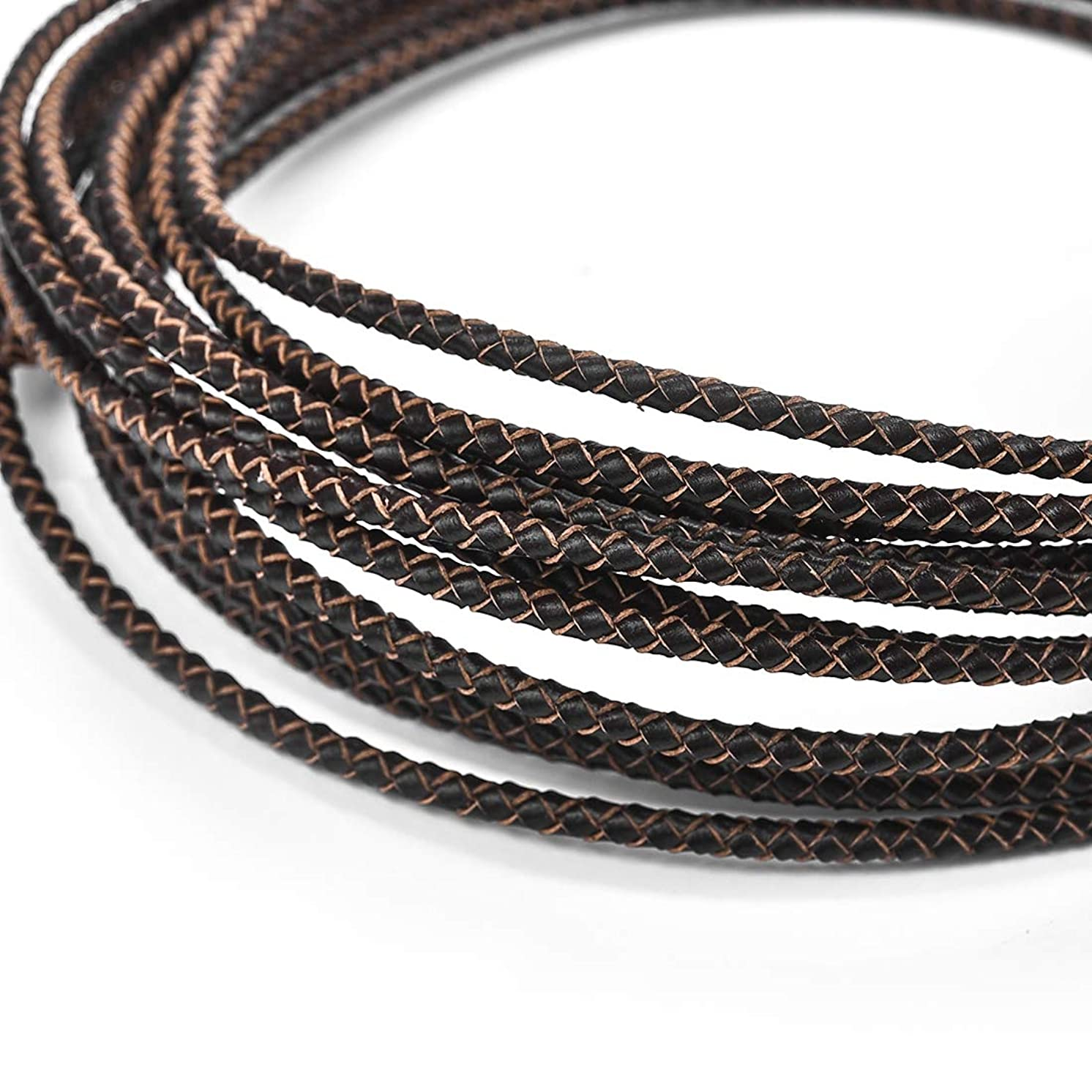 3mm Round Leather Cord Folded Bolo PU Braided Leather Cord Bolo Tie for Necklace Bracelet Jewelry Making Dark Brown 5 Meters