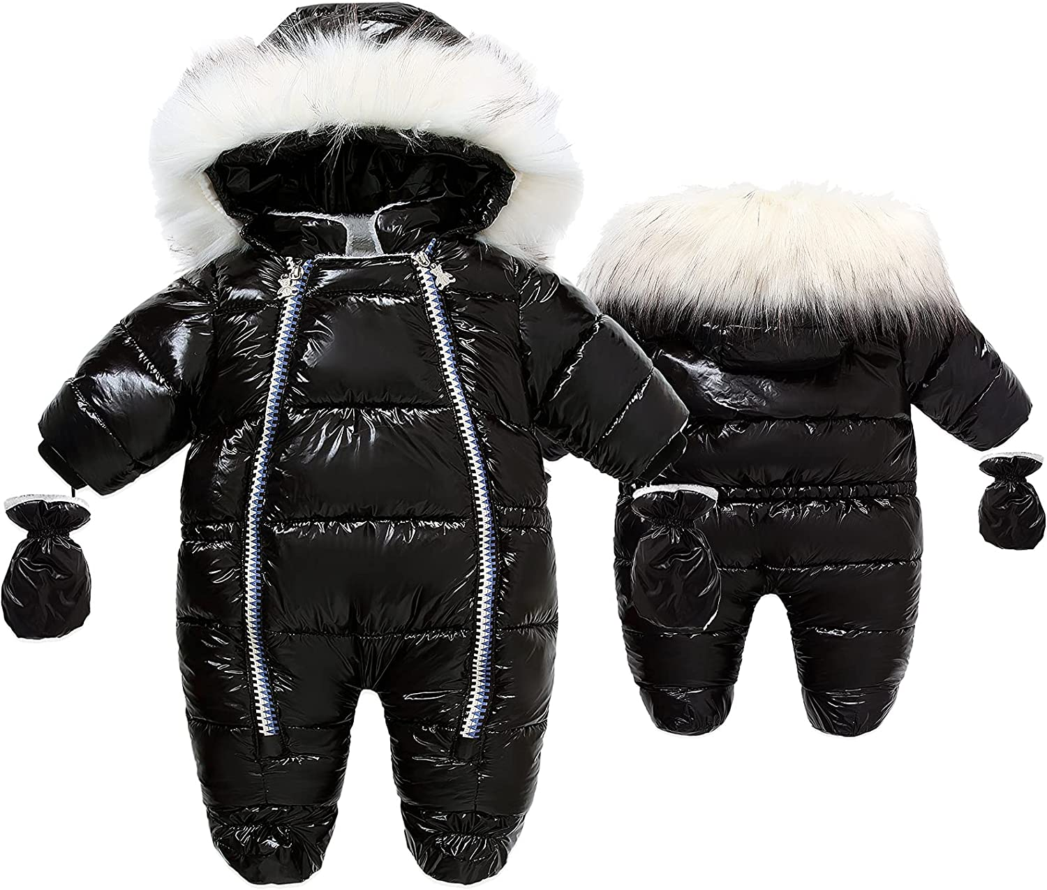 Newest Baby Winter Snowsuit Warm Hooded Romper Down Coat with Mittens and Shoes