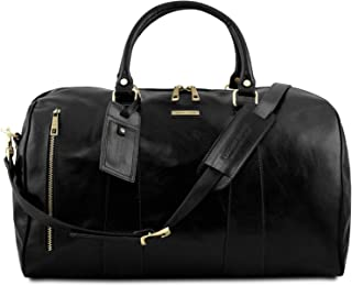 Tuscany Leather TL Voyager Travel Leather Duffle Bag - Large Size - TL141794 (Black)