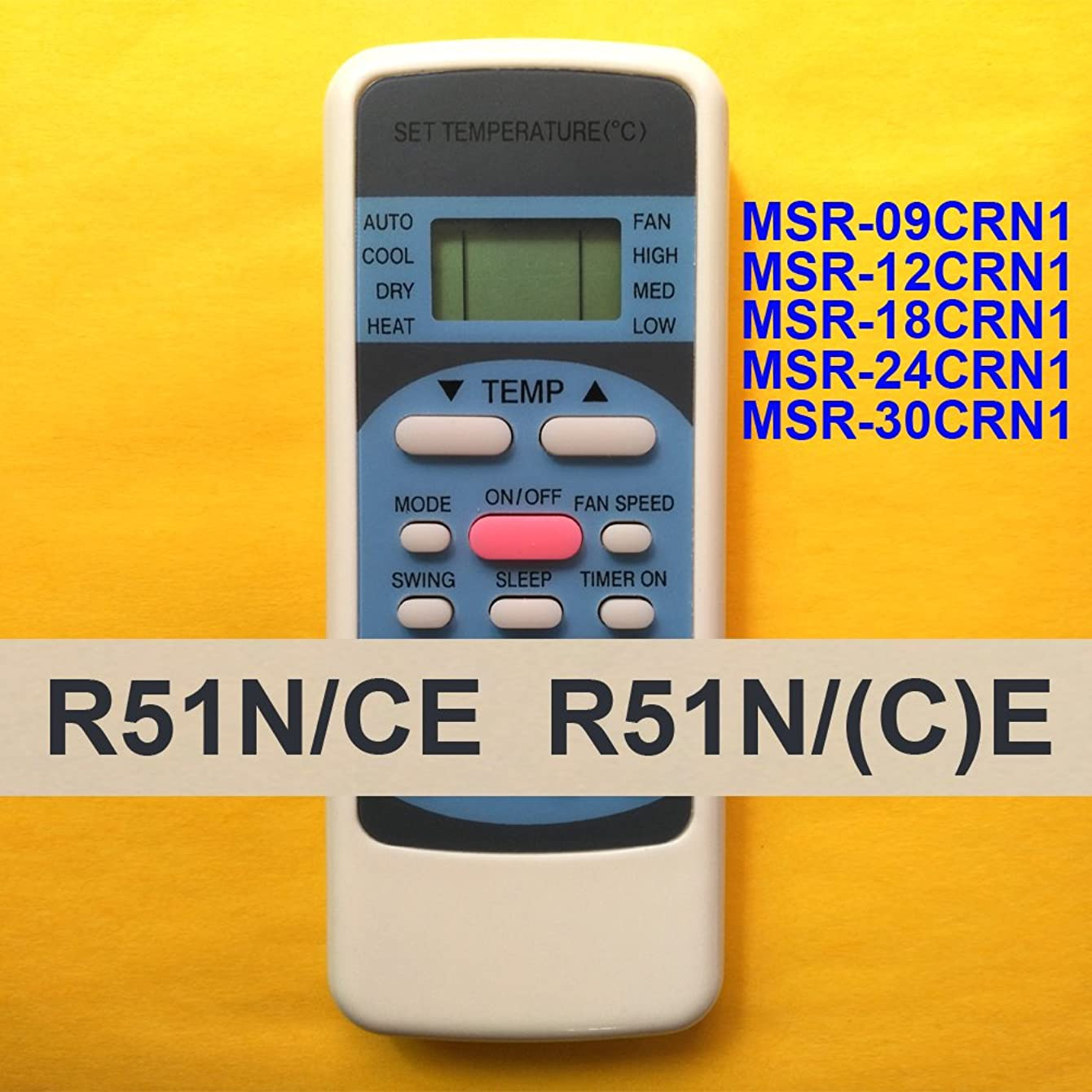 Replacement for Ecox Air Conditioner Remote Control Model Number: R51N/CE R51N/(C)E works for MSR-09CRN1 MSR-12CRN1 MSR-18CRN1 MSR-24CRN1 MSR-30CRN1