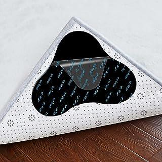 10PCS Rug Tape, Washable Anti Curling Rug Stickers Corner Side Gripper for Hardwood Floor, Double Sided Non-Slip Carpet Ta...