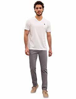 U.S. Polo Assn. Embroidered Logo V-Neck Solid T-Shirt for Men - White, XL
