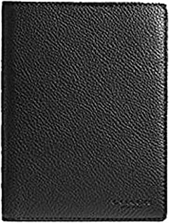 COACH Pebbled Leather Passport Case Travel Wallet in Black 93604