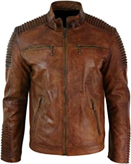 Mens Biker Vintage Motorcycle Cafe Racer Brown Distressed Leather Jacket- Stylish Moto Racers Jacket