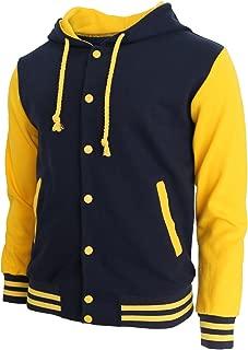 Hoodie Baseball Jacket Varsity Baseball Jacket Cotton Letterman Jacket Navy-Yellow-L