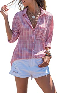 Women V Neck Cuffed Long Sleeves Button Down Casual Chiffon T Shirt Blouse Soild Tops